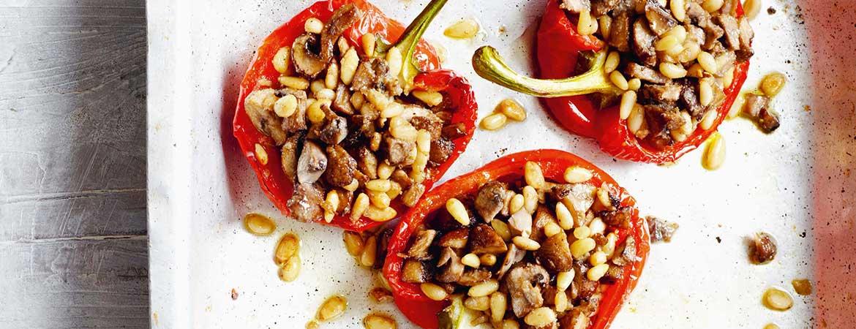 Gevulde paprika met champignons