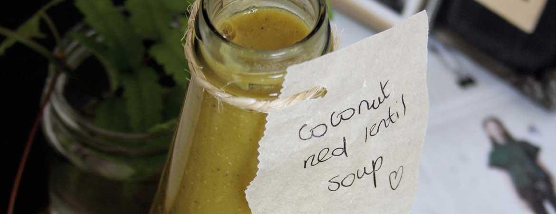 Rode linzen hijiki soep