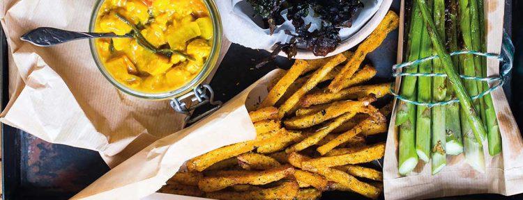 Polenta frieten met zeesla en asperges - Gezond aan tafel - recept