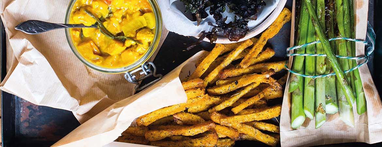 Polenta frieten met zeesla en asperges