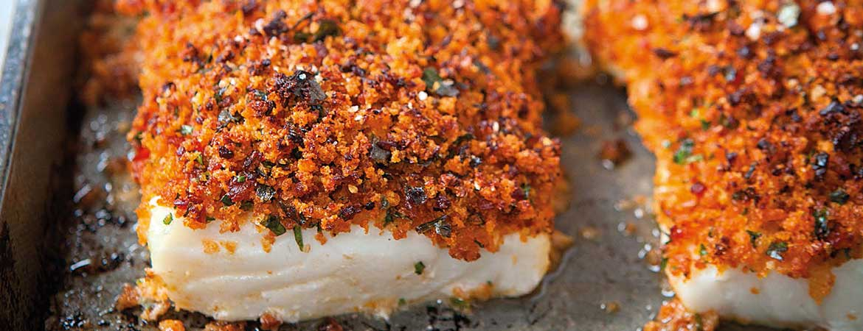 Vis uit de oven met chorizo