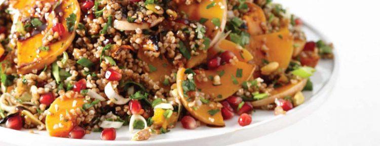 Bulghursalade met granaatappelmelasse, pompoen & pistache - Gezond aan tafel - recept