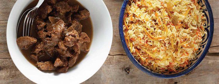 Rijst met sinaasappel en stoofvlees - Gezond aan tafel - recept