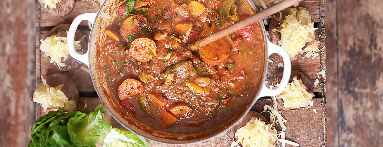 Vegetarische chili met geroosterde groenten van Jamie Oliver