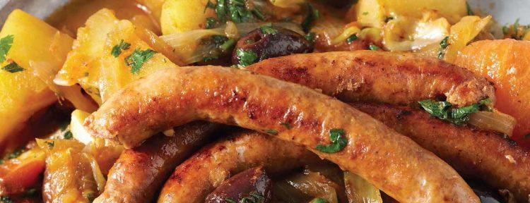 Harissa stoofschotel met merquez worstjes & zoete aardappel - Gezond aan tafel - recept