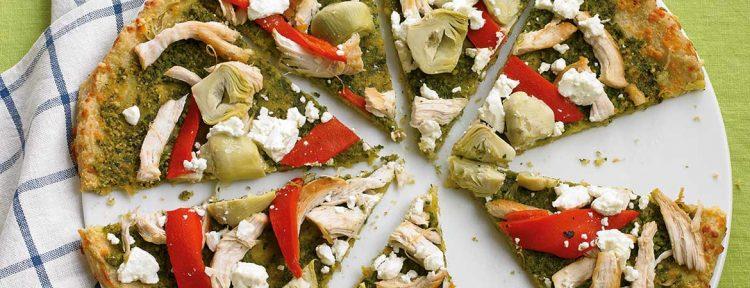 Pizza kip-pesto (Broodbuik) - Gezond aan tafel - recept