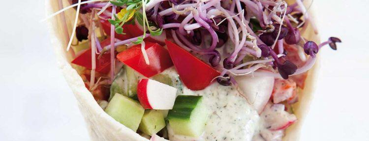 Volkorenwrap met lente groenten - Gezond aan tafel - recept