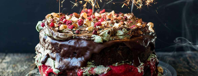 Chocoladetaart met vanille chlorella crème