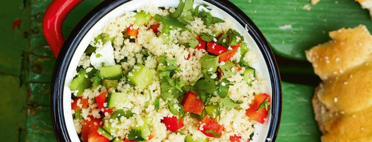 Couscous salade met komkommer, paprika en koriander - Gezond aan tafel - recept