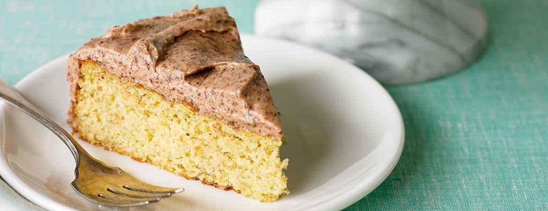 Gele cake met chocoladeglazuur (Broodbuik)
