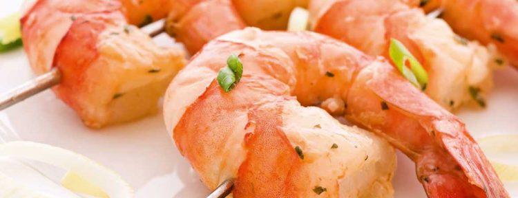 Spiesjes met munt gamba's en groene asperges - Gezond aan tafel - recept