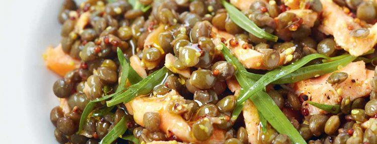 Linzensalade met zalm en dragon - Gezond aan tafel - recept