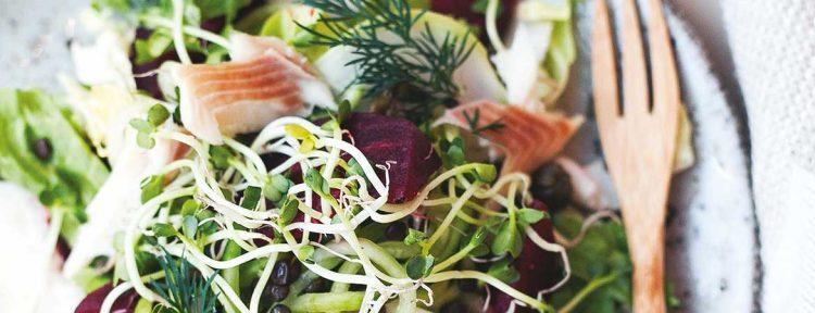 Salade van andijvie met gerookte forel & linzen - Gezond aan tafel - recept