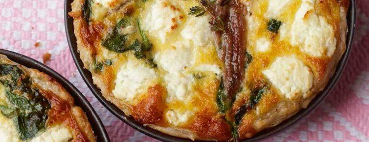 Spinazie taartjes met geitenkaas en ansjovis - Gezond aan tafel - recept