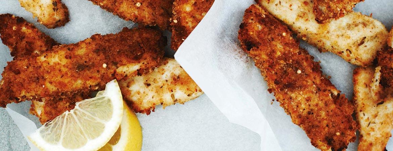 Fish fingers met mosterd en kruiden