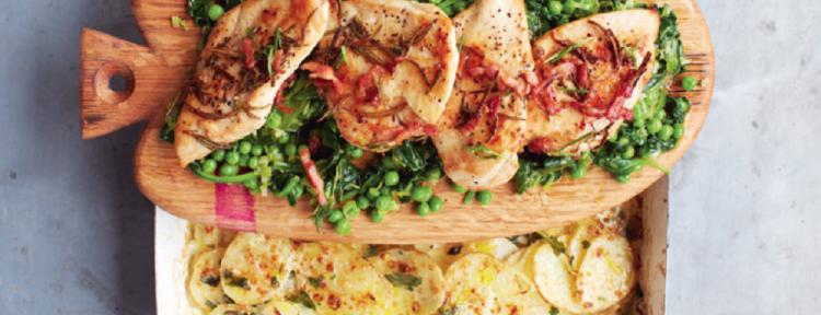 Gebakken kip met gesmoorde groenten en aardappelgratin - recept - Gezond aan tafel