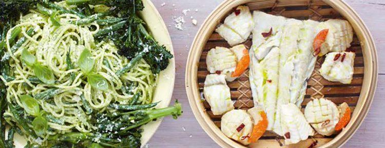 Pesto spaghetti met gestoomde vis en citroen - Gezond aan tafel - recept