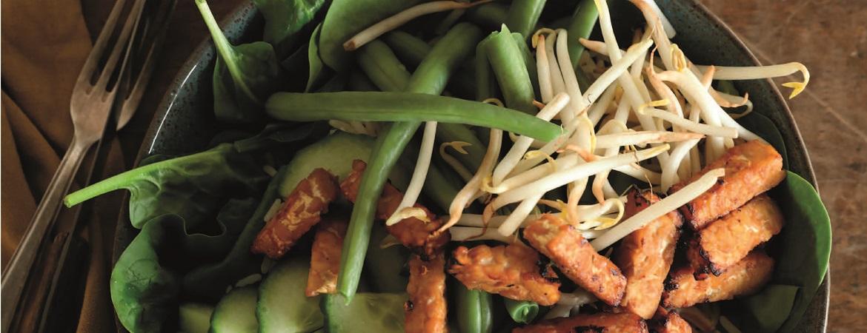 Gado gado salade met gemarineerde tempé