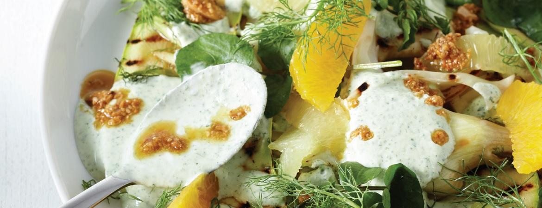 Gegrilde groente met waterkersyoghurt & amandelolie