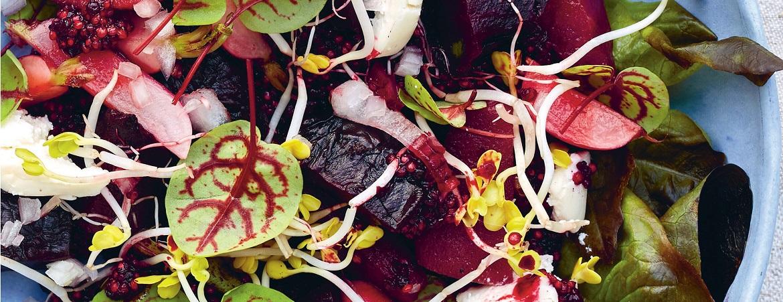 Rode bieten salade met peertjes (Niven Kunz)