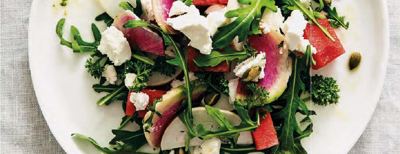 Salade meiknol, watermeloen, geitenkaas & pompoenpitten