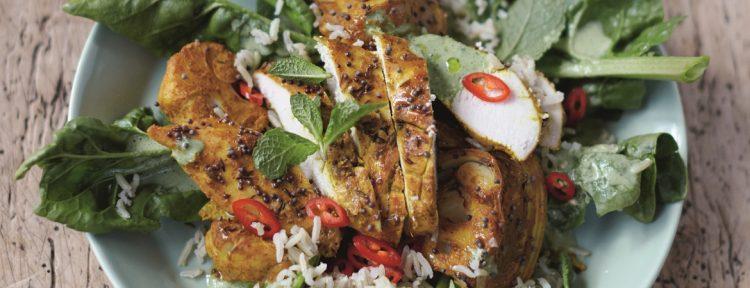 Kip met bloemkool, papadums, rijst & spinazie - Gezond aan tafel - recept
