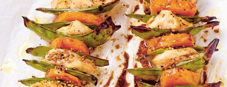 Kipspiesjes met pompoen - Gezond aan tafel - recept