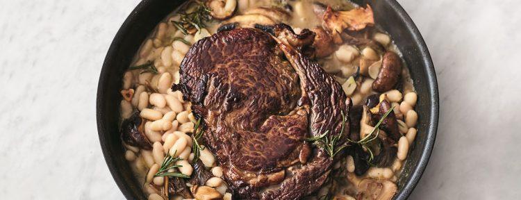 Ribeye met paddenstoelen en witte bonen (Jamie Oliver) - Gezond aan tafel - recept