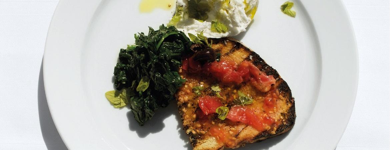 Bruschetta met mozzarella en spinazie