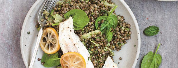 Linzen met spinaziepesto en vis - Gezond aan tafel - recept
