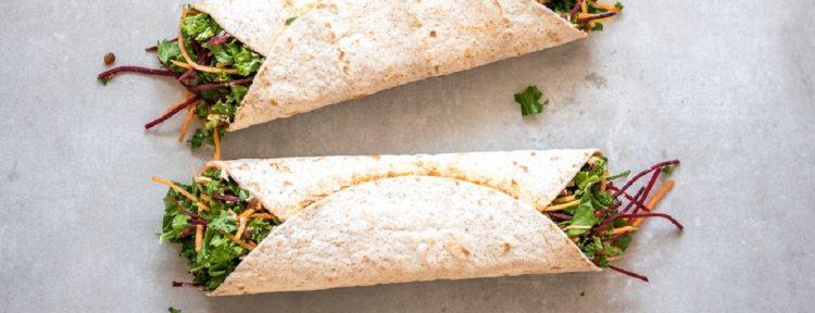 Lunchwraps met linzen, spinazie, boerenkool, wortel en biet - Gezond aan tafel - recept