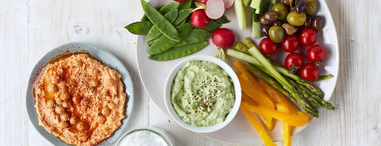 Knapperige groente met dips