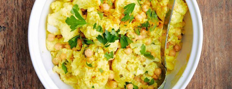 Bloemkoolcurry met kikkererwten - Gezond aan tafel - recept