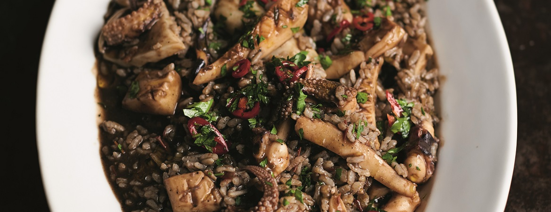 Inktvisrisotto met peterselieolie en pepertjes (Jamie Oliver)