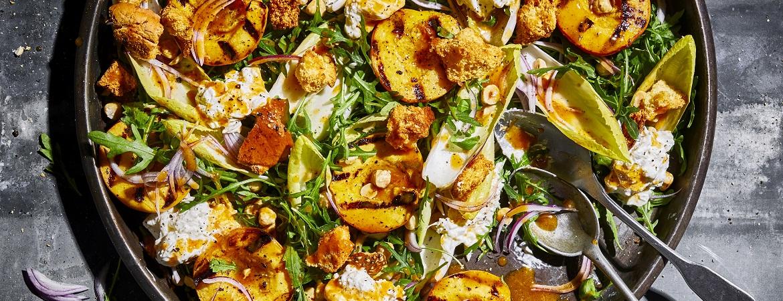 Gegrilde perzik & burrata salade