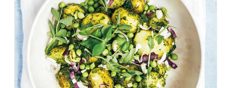 Aardappelsalade met korianderpesto & verse kruiden