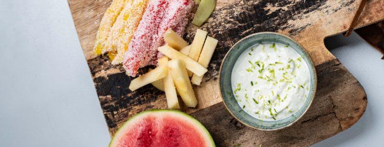 Fruitfrietjes met limoen-kokosdip - Gezond aan tafel - recept