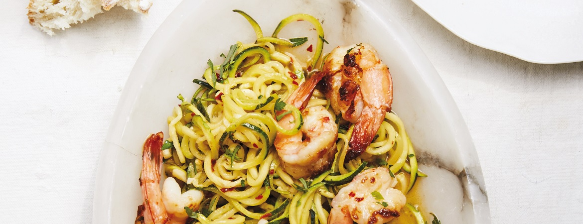 Scampi met courgetti