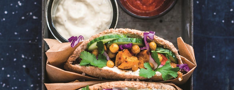 Pita's met kikkererwten en zoete aardappel